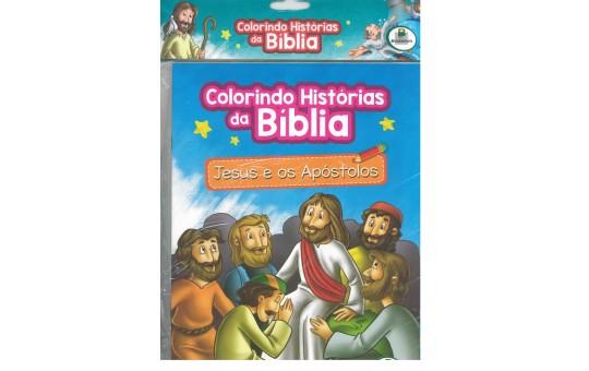 LIVRO COLORINDO HISTÓRIAS DA BÍBLIA JESUS E OS APÓSTOLOS- CONTÉM 10 LIVROS
